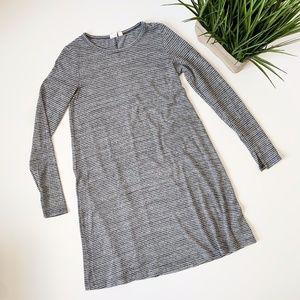 GAP Shirt Swing Dress Striped Grey Blue Size XS